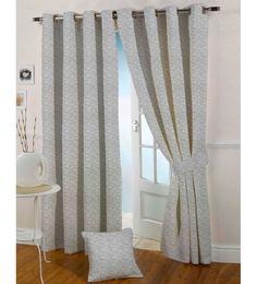 Presto  Grey Colour Jacquard Long Door Curtain  9 Ft