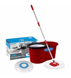 Primeway 360 Degree Rotating Red 5500 ML Magic Spin Mop Set With 2 Microfibre Mop Heads