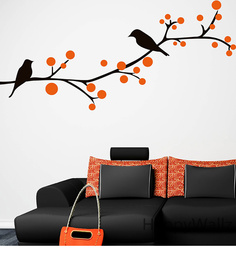 Print Mantras Wall Stickers Beautiful Black Birds On Tree Branches