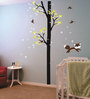 Print Mantras PVC Wall Stickers Black Birch Tree White Flowers and Cat