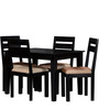 Lomira Four Seater Dining Set in Espresso Walnut Finish by Woodsworth