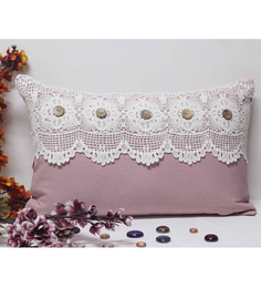 R Home Pink Cotton 12 X 20 Inch Indian Ethnic Cushion Cover