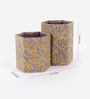 Rajrang Green & Purple Cardboard & Handmade Paper Floral Printed Pen Holder
