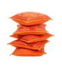 Rajrang Orange Cotton 16 x 16 Inch Embroidery Cushion Covers - Set of 2