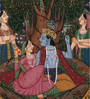 Rajrang Paper 3.5 x 7 Inch Comely Lord Radha Krishna Unframed Painting