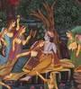 Rajrang Silk & Paper 7 x 9 Inch Enticing Lord Radha Krishna Unframed Painting