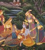 Rajrang Silk & Paper 7 x 9 Inch Graceful Lord Radha Krishna Unframed Painting