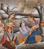 Rajrang Silk 12 x 9 Inch Beautiful Lord Radha Krishna Unframed Painting