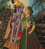 Rajrang Silk 9.5 x 12 Inch Lord Radha Krishna Elegant Unframed Painting