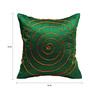 Rang Rage Green Poly Silk 16 x 16 Inch Hand-Painted Circle Cushion Cover