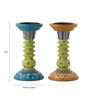 Rang Rage Multicolour Mango Wood Classic Mughal Hand Painted Candle Holder - Set of 2