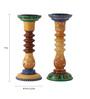 Rang Rage Multicolour Mango Wood Mughal Dusk Hand Painted Candle Holder - Set of 2