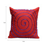 Rang Rage Red Poly Silk 16 x 16 Inch Hand-Painted Scarlet Circle Cushion Cover