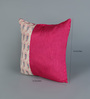 RangDesi Magenta Silk 16 x 16 Inch Bagh Patch Cushion Covers - Set of 2