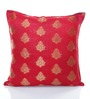 RangDesi Pink Brocade 16 x 16 Inch Double Sided Cushion Cover