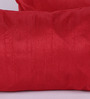 RangDesi Red Silk 14 x 7 Inch Solid Cushion Covers - Set of 2