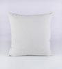 RangDesi White Silk 16 x 16 Inch Bhagalpuri Hand Block Printed Cushion Cover