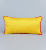 Rangdesi Yellow Art Silk 7 x 14 Inch Cushion Covers with Pom Pom Lace & Fillers - Set of 2