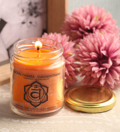 Resonance Meditation Orange And Sandalwood Aroma Sacral Chakra Essential Oil Healing Therapy Candles
