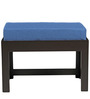 Rectangular Coffee Table with Two Blue Cushioned Stools by ARRA