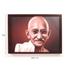 Retcomm Art Wooden 24 x 1 x 18 Inch Smiling Mahatma Gandhi Framed Canvas Painting