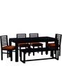 Winona Six Seater Solid Wood Dining Set in Espresso Walnut Finish by Woodsworth