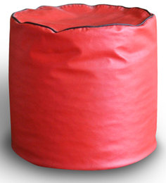 Round Ottoman L Size In Red &Black Piping Colour With Beans By Style Homez