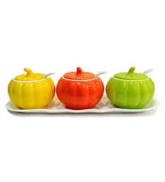 Royal Multicolor  Capsicum 300 ML Jars With Lid Spoon And Tray - Set Of 7