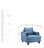 Roman Reverie One Seater Sofa in Ice Blue Colour by Urban Living