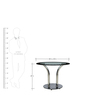 Round Glass Top - Double Pillar Base Four Seater Dining Set with Leatherette Chairs by Parin