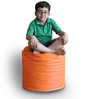 Round Ottoman (Cover Only) L size in Orange & Red Piping Colour  by Style Homez