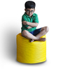 Round Ottoman (Cover Only) L size in Yellow & Red Piping Colour  by Style Homez