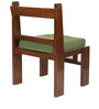 Royal Mesh Teak Wood Chair with Green Colour Jute Cushion in Mahogany Finish by VarEesha