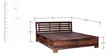 Lynnwood Queen Bed with Hydraulic Storage in Provincial Teak Finish by Woodsworth