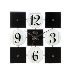 Safal Quartz Black & White Clock MDF Wall Clock