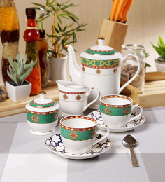 Sanjeev Kapoor Virasat Collection Bone China Tea Set - Set Of 15