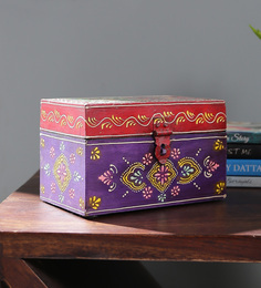 Satyam International Multicolour Solid Wood Painted Stationary Box - 1560500