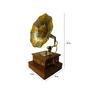 Saaga Gold Sheesham Wood & Brass Mini Model Gramophone