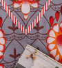Salona Bichona Orange Cotton Floral Bed Sheet Set (with Pillow Covers)