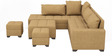 Scott RHS Modular Sofa with Center Table & Two Pouffes in Light Brown Colour by CasaTeak