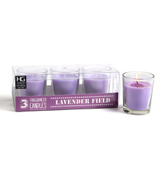 Hosley Lavender Scented Glass Candle - Set Of Three