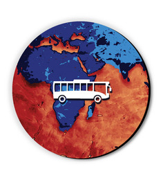 Seven Rays Blue & Orange MDF Bus Around The Globe Fridge Magnet