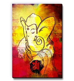 Seven Rays Red & Yellow MDF Ganesha Fridge Magnet