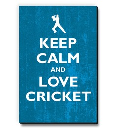 Seven Rays Blue MDF Keep Calm & Love Cricket Fridge Magnet