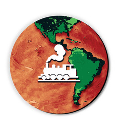 Seven Rays Green & Orange MDF Train Around The Globe Fridge Magnet