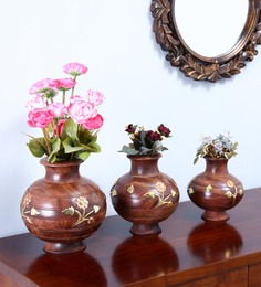 Shagun Arts Brown Sheesham Wood Vases - Set Of 3 - 1589362
