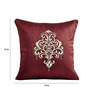 Shahenaz Home Shop Red Poly Silk 16 x 16 Inch Ethnic Indian Cushion Cover