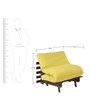 Single Futon Sofa cum Bed with Mattress in Lemon Yellow Colour by ARRA