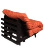 Single Futon Sofa cum bed With Mattress in Orange Colour by ARRA