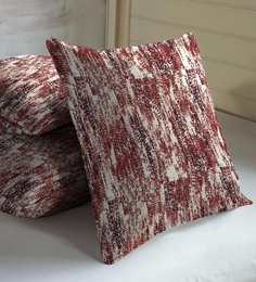 Skipper Maroon Viscose & Polyester 16 X 16 Inch Abstract Texture Cushion Covers - Set Of 3